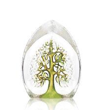 "MATS JONASSON Tree of Life Medium Green Swedish Art Glass Signature Edition 5.5"""