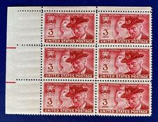 US Stamps, Scott #985 Grand Army of Republic 1950 3c Block of 6 XF M/NH