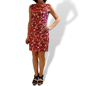 ANN TAYLOR Sz 4* 6 Red Pink Black Poppy Floral Print Silky Polyester Dress