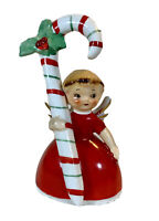 Napco Christmas angle bell with candy cane 1956 porcelain holiday decoration