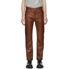 Leather Jeans Pant Real Style Men Mens 501 Pants S Trousers Bikers Punk Tan 73