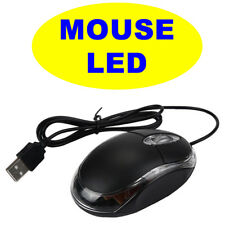 OTTICO MOUSE USB NOTEBOOK SOTTILE LED LUCE NERO WINDOWS 2000 VISTA 7 8 10 mp