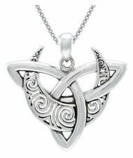 Jewelry Trends Sterling Silver Goddess Crescent Moon Eclipse Pendant with Amethyst on 18 Inch Necklace