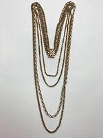 Vintage Multi Strand Gold Tone Chain Necklace Scroll Box Clasp