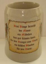 Vintage German Beer Mug Stein Stoneware 0.5L Made in W. Germany Prior to 1989