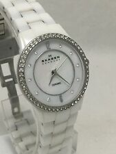 Skagen Women's White Ceramic Glitz Mother Of Pearl Dial Watch 347SSXWC