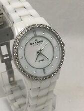 Skagen Women's White Ceramic Glitz Mother Of Pearl Dial Watch 347SSXWC