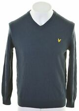 LYLE & SCOTT Womens V-Neck Jumper Sweater Size 18 XL Navy Blue Wool  BE03