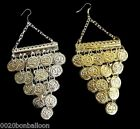 BELLY DANCE EGYPTIAN METAL COIN EARRING EARRINGS JEWELRY GYPSY TRIBAL 110