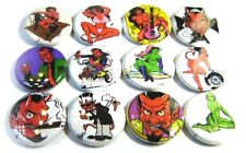 "12 DEVIL PINUP - One Inch Art Buttons Pinbacks 1"" Pins Badges HOTROD Tattoo Girl"
