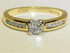 18CT 18 CARAT YELLOW GOLD 0.25CT DIAMOND PRINCESS CLUSTER  ENGAGEMENT RING  K