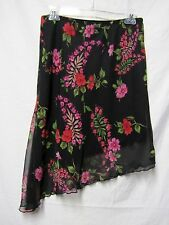 JUST FOR WRAPS Skirt Med 6/8 Stretch Waist 28-30 black Multi lined washable LOOK
