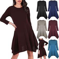 Womens Turn Up Long Sleeve Hanky Hem Fine Knitted Ladies Flared Swing Mini Dress
