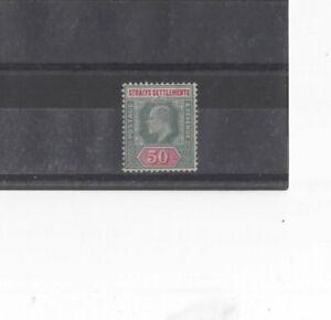 STRAITS SETTLEMENTS , 1905, SG135 TY 37 50c DULL GRN & CARMINE, MH     CV £60+