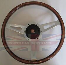 """New 14"""" Wood Steering Wheel & Hub Adaptor Austin Healey Sprite Bugeye 1958-1963"""