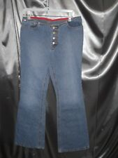 BUTTON FLY Polo Jeans Co Ralph Lauren 11/12 34x32 Low Rise Flare Jeans Vtg flag