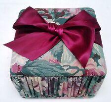 Handmade 4.5 inch Square Fabric Box with Burgundy Satin Bow