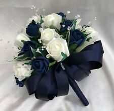 BRIDES OR BRIDESMAIDS POSY, IVORY & NAVY BLUE ROSES, ARTIFICIAL WEDDING FLOWERS