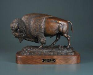 "Steve Lillegard Moving On Yellowstone Buffalo Bison 10"" Tall Bronze Sculpture"