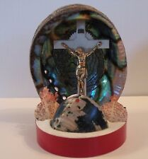 nea101 VINTAGE ABALONE JESUS TV LAMP LIGHT WITH SHELLS, PLASTIC not working