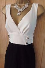 NEW Women's JANE NORMAN Black white tab detail pencil DRESS UK 14 ( US 10 ) BNWT