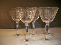 """5  CRYSTAL WATER WINE GOBLETS BAMBOO ETCHED STEMWARE 6 1/8"""""""