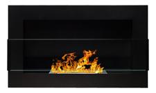 65 cm l'éthanol-cheminée noir avec protection vitre bio-éthanol cheminée Mur ** ...