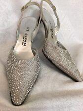 St  John Silver Studded Evening Shoe Low Heel Size 6 1/2
