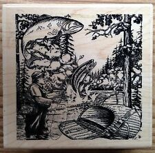 Fishing Collage Paper Inspirations Wood Mounted Rubber Stamp H7093