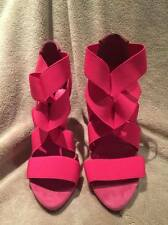 Zara Collection Cross Over Strap Suede Heels in Hot Pink size 37
