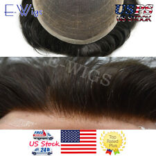 Full French Lace Mens Toupee Thin Swiss Lace Hair System #1B Natural Black Wig