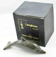 Langham Glass Handmade Crystal Standard Grey Dolphin Boxed       #B634-22