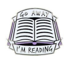 Go Away I'm Reading Enamel Metal Pin Badge open book reader leave me alone quiet