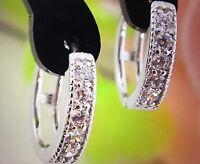 Silver Color womens Clear Shining CZ Zircon Pretty hoop earrings
