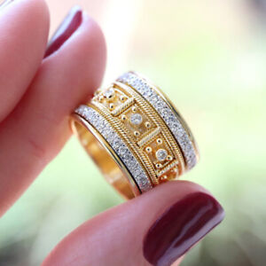 Gorgeous 18k Yellow Gold Plated Rings Women White Sapphire Jewelry Size 9