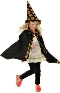 Child Witch Hat Cape Cloak Pumpkin Fancy Dress Halloween Age 3 4 5 6 7 Girl Kid