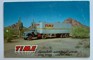 TX Postcard Lubbock Time Motor Freight vintage truck tractor trailer advertising