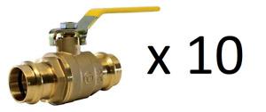 """1.5 """" ProPress / Press Fit Ball Valve Lead Free Brass - Lot of 10"""