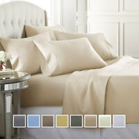 Wrinkle Free Bed Sheet Set 650 Thread Count Cotton Blend Solid Sateen