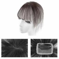 Real Human Hair Clip on Bangs 3D Hand Made Mono Air Bangs Hairpieces for Women