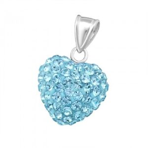 Sterling silver 925 Child's/Ladies CZ Heart Pendant With chain Various colours
