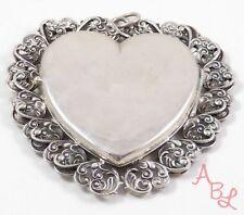 Sterling Silver Vintage 925 Victorian Heart Large Locket Pendant (42.5g) -745347