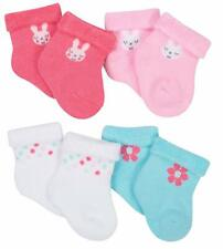 Gerber Baby Girl's 4 Pack Organic Wiggle Proof Socks Sizes Newborn, 0-6 Months