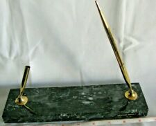 PARKER  -VTG. GENUINE  MARBLE DESK TOP PEN STAND  WITH  FOUNTAIN AND GOLD PEN