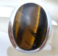 Sterling Silver Tiger's Eye Ring Large Brown Gemstone Size 6.5 Statement Jewelry