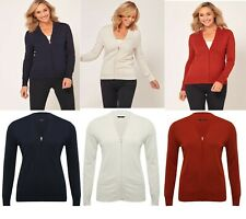 M&Co V Neck Zip up Viscose Long Sleeves Cardigan Jumper Sweater Top 14 16 18 20