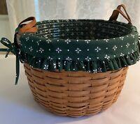 """1993 Vintage Longaberger Wildflower Basket #10111, Liner, Protector 13.5"""" x 8.5"""""""