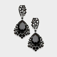 "3.25"" Jet Black Crystal Rhinestone Earrings Big Drop Dangle Prom Pageant"