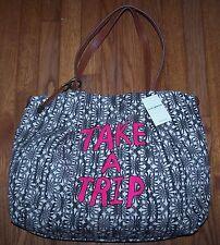 Lucky Brand Portland TAKE A TRIP Tote Bag Travel Bag BLACK/WHITE/PINK ~ NWT $98