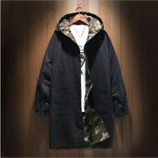 Men's Mid Length Camouflage Reversible Windbreaker Trench Coat Outdoor Loose New
